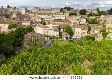 Vineyard and village in France at the famous Saint Emilion town, Unesco heritage. - stock photo