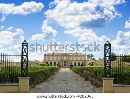 Vineyard and winery near bordeaux - stock photo