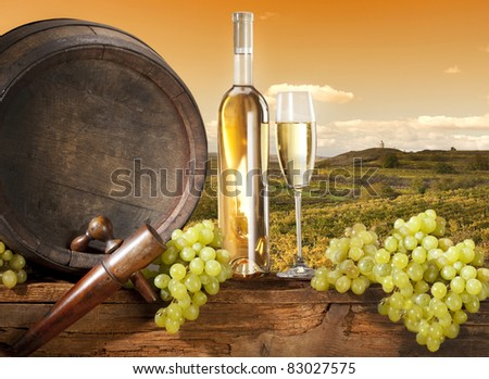 vineyard with barrel and white wine - stock photo