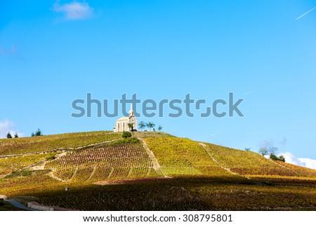 vineyards grand cru in Beaujolais witha church, Fleurie, Rhone-Alpes, France - stock photo