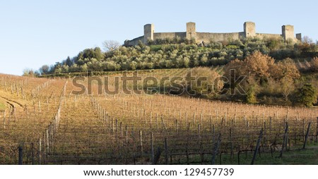 Vineyards in front of the medieval walled town of Monteriggioni in Tuscany, Italy - stock photo