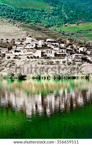 Vineyards in the Valley of the River Douro, Portugal, Vintage Style Toned Picture - stock photo