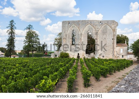 Vineyards of Saint Emilion with ruined church, Bordeaux, France - stock photo