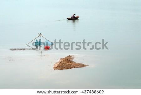 Vinh Phuc, Vietnam, June 12, 2016 fishermen, fishing, swimming Dai Lai, Vinh Phuc Province, Vietnam