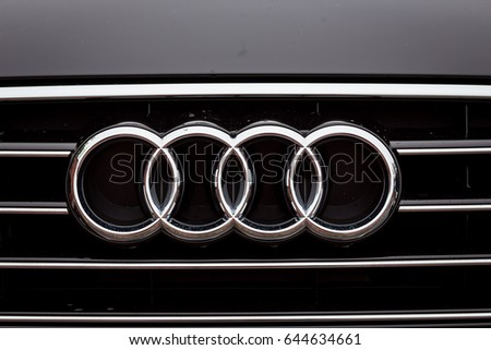 Vinnitsa, Ukraine - May 14, 2017. Audi A6.Front of the car, logo Audi,diesel,TFSI engine, quattro system, sportcar, luxury car, sedan,modern car. Presentation of the new model car- Audi 6