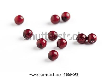 vinous glass beads closeup on white background - stock photo