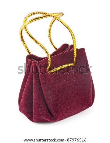 vinous jewelry pouch isolated on white background