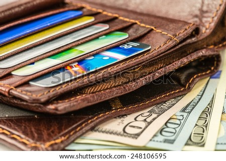 Vinous leather wallet with credit and discount cards, with money - stock photo