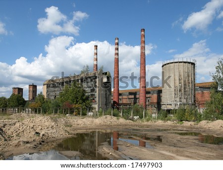 Vintage abandoned steel mill in Poland. Industrial architecture.