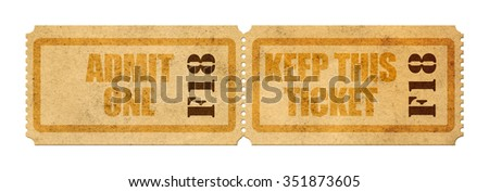 vintage admit one ticket close up - stock photo