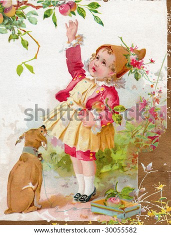 Vintage Advertising Card Illustration - Girl with a Dog - stock photo