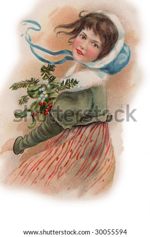 Vintage Advertising Card Illustration - Girl with Holly - stock photo
