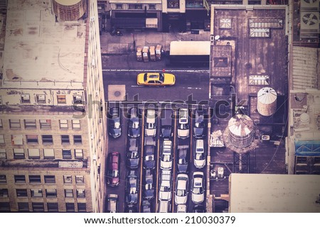 Vintage aerial picture of street in New York City, USA - stock photo