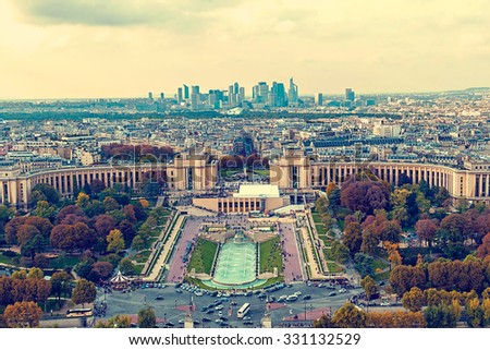 Vintage aerial view, from Eiffel tower, with Trocadero place in Paris, France. - stock photo