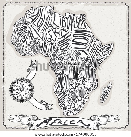Vintage Africa Map Blackboard. Geographic Africa Chalk Board Map. Retro Vintage typography Africa. Chalk Handwriting African Map.Vintage Board Background Infographic Illustration - stock photo
