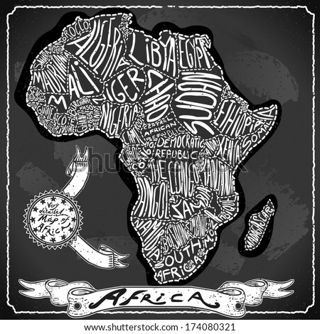 Vintage Africa Map Blackboard. Geographic African Chalk Board Map. Retro Vintage typography Africa. Chalk Handwriting African Map.Vintage Board Background Infographic Illustration - stock photo