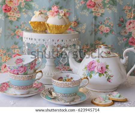 Vintage Afternoon Tea Party Blue Floral Stock Photo
