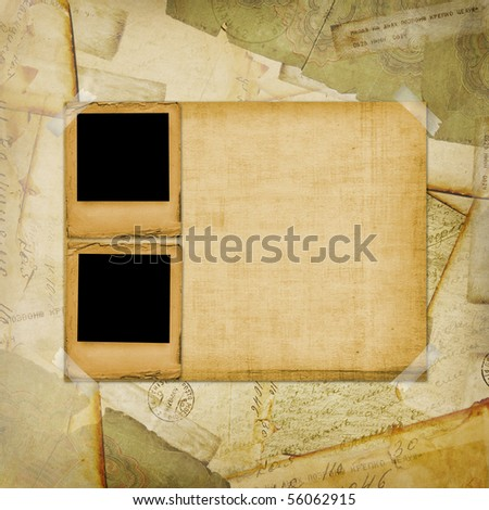 Vintage aged background, old Postcard, envelopes and slides - stock photo