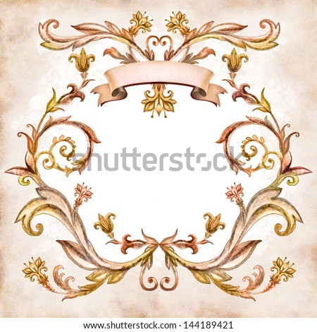 vintage aged floral pattern, watercolor painted ornament - stock photo