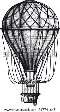 vintage Air Balloon drawn as engraving isolated on white background - stock photo