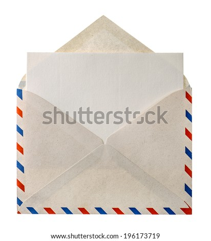 vintage air mail envelope letter isolated on white background - stock photo