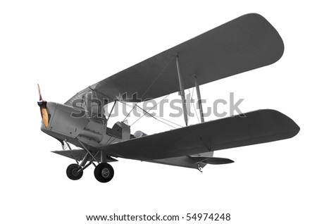 Vintage Aircraft isolated with clipping path - stock photo
