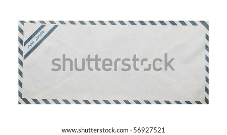 Vintage airmail envelope on white background, clipping path. - stock photo