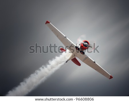 Vintage airplane at high speed - stock photo