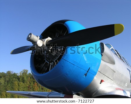 Vintage Airplane Blue Cowl Propeller