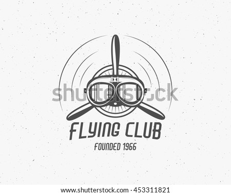 Vintage airplane emblem. Biplane label. Retro Plane badge, design elements. Aviation stamp. Airshow logo and logotype. Fly propeller, goggles, old icon, patch isolated. . - stock photo