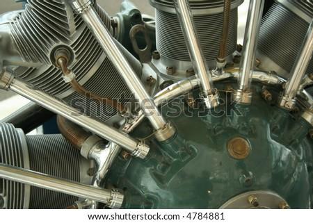 vintage airplane engine detail - stock photo