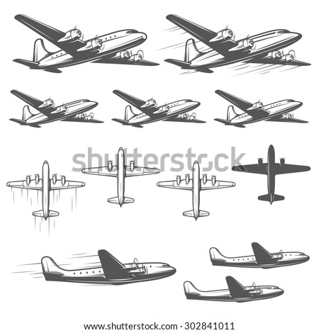 Vintage airplanes from different angles - stock photo