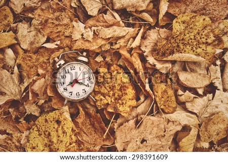 Vintage alarm clock in dry autumn leaves, Passing of time and season change concept. Selective focus, Top View - stock photo