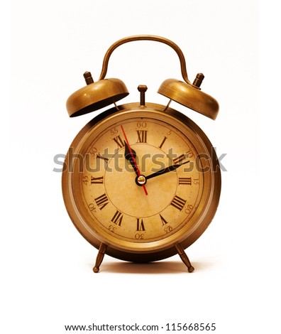 Vintage Alarm Clock isolated on white