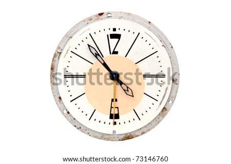 Vintage alarm clock, isolated on white background - stock photo