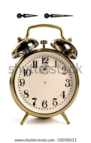 Vintage alarm clock isolated over white - hour and minute hands have clipping paths, so you can create  your own time!