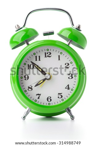 vintage alarm clock on white background - stock photo