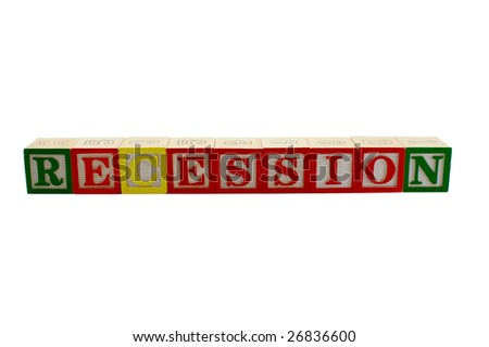 Vintage alphabet blocks spelling out the word recession - stock photo
