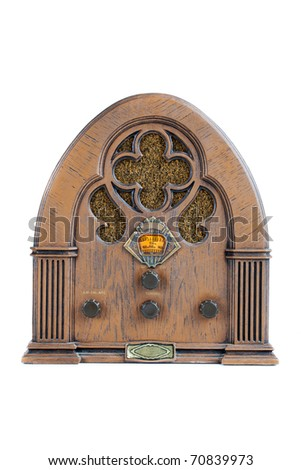 Vintage AM/FM radio on white, front view - stock photo