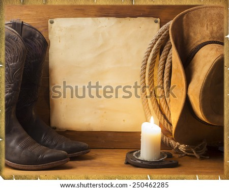 Vintage American background with cowboy clothes and old paper for text - stock photo