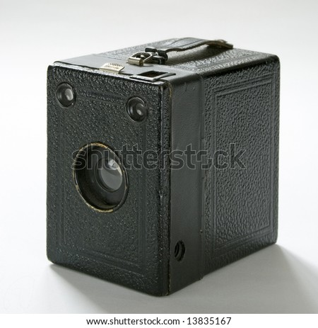 vintage american box camera isolated at white