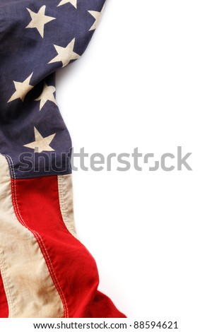 Vintage American Flag Border Isolated On A White Background