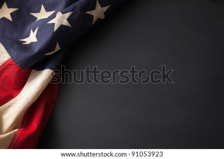 Vintage American flag on a chalkboard with space for text - stock photo