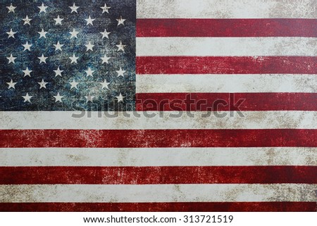 Vintage American flag on canvas - stock photo