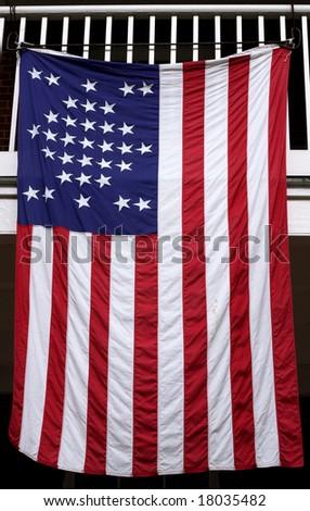 Vintage american flag (33 stars) - stock photo