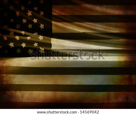 vintage american flag waving in the wind - stock photo