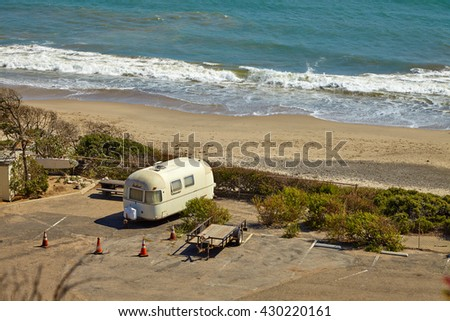 Vintage american mobile home on a camping site - stock photo