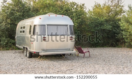 Vintage American mobile home on a camping site in the Netherlands - stock photo