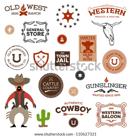 Vintage American old west western designs and graphics - stock photo