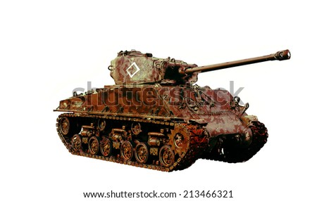 Vintage american WW2 tank illustration  - stock photo